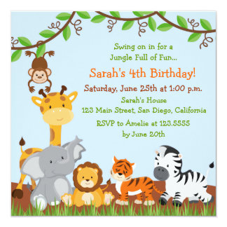 Cute Safari Jungle Birthday Party Invitations