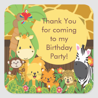 Cute Safari Jungle Birthday Party Square Sticker