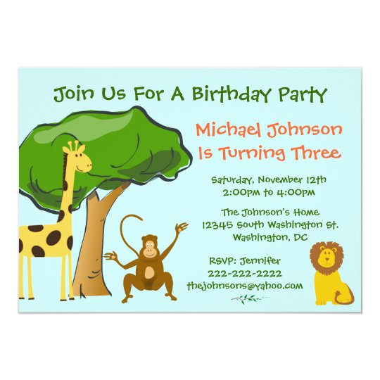 Cute Safari Jungle Zoo Animals Kids Birthday Party