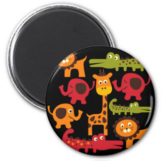 Cute Safari Jungle Zoo Animals Print Gifts 6 Cm Round Magnet
