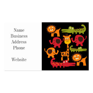 Cute Safari Jungle Zoo Animals Print Gifts Business Cards