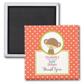Cute Safari Monkey Baby Shower Thank You Square Magnet