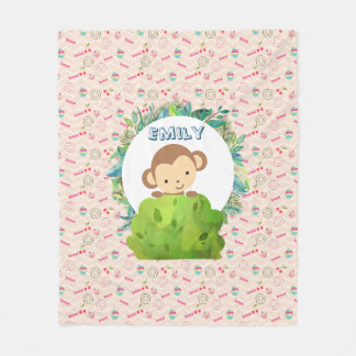 Cute Safari Monkey on Candy Pattern Personalized Fleece Blanket