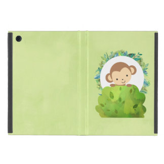 Cute Safari Monkey with Tropical Leaves Case For iPad Mini
