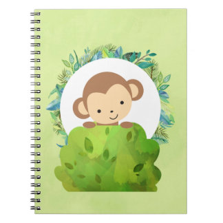 Cute Safari Monkey with Tropical Leaves Spiral Notebook