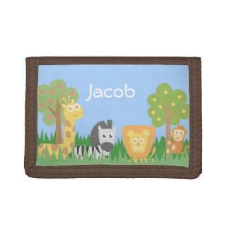 Cute Safari Themed Animals Kids Wallet