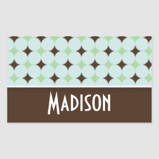 Cute Sage Green & Brown Rectangular Sticker