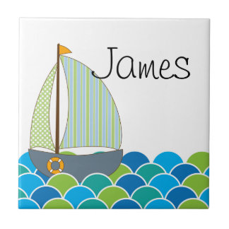 Cute Sailboat Name Tile