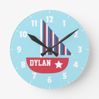Cute Sailboat Nautical For Kids Room Round Clock