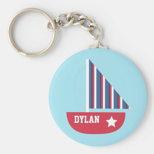 Cute Sailboat Nautical For Little Sailors Key Ring