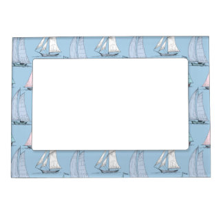 Cute Sailboat Pattern 1 Magnetic Picture Frame