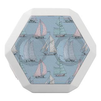Cute Sailboat Pattern 1 White Bluetooth Speaker