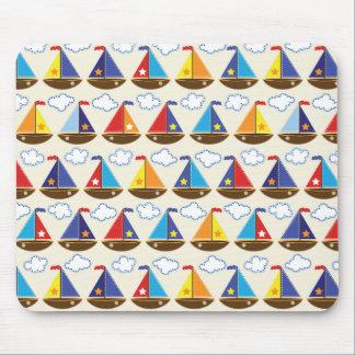 Cute Sailboat Pattern 2 Mouse Mat