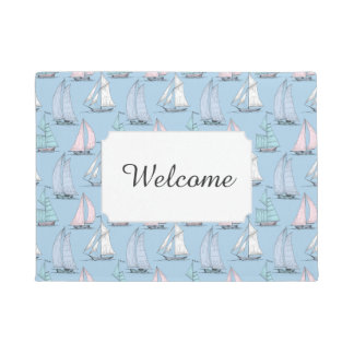 Cute Sailboat Pattern | Add Your Text Doormat