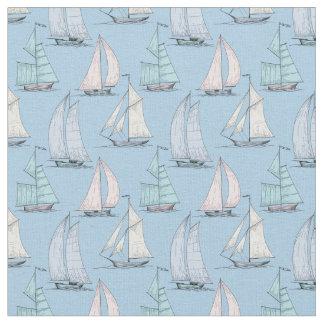 Cute Sailboat Pattern   Monogram 2 Fabric