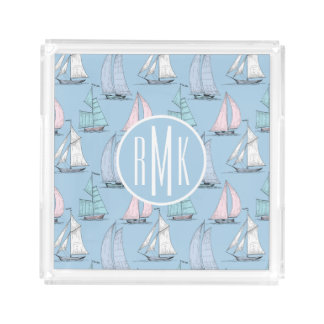Cute Sailboat Pattern | Monogram Acrylic Tray
