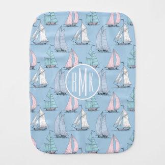 Cute Sailboat Pattern | Monogram Burp Cloth