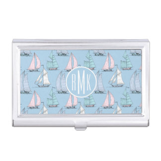 Cute Sailboat Pattern | Monogram Business Card Holder