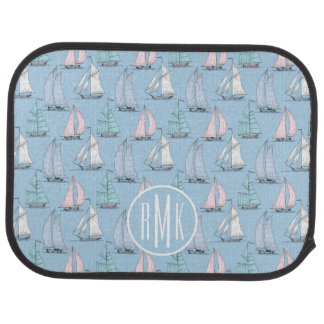 Cute Sailboat Pattern | Monogram Car Mat