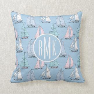 Cute Sailboat Pattern | Monogram Cushion