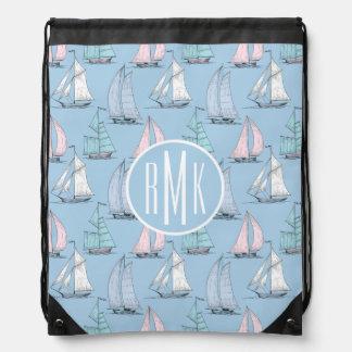 Cute Sailboat Pattern   Monogram Drawstring Bag