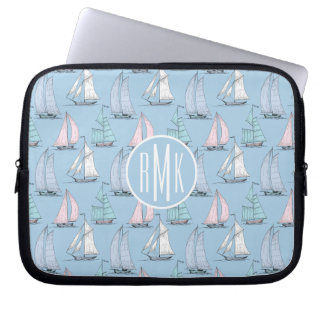 Cute Sailboat Pattern | Monogram Laptop Sleeve