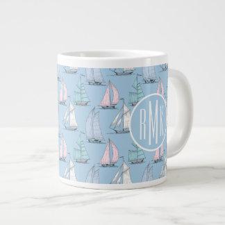 Cute Sailboat Pattern   Monogram Large Coffee Mug