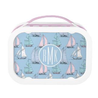 Cute Sailboat Pattern | Monogram Lunch Box