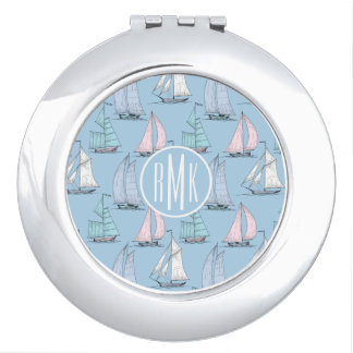 Cute Sailboat Pattern | Monogram Mirror For Makeup
