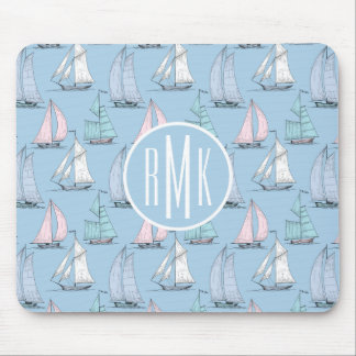 Cute Sailboat Pattern | Monogram Mouse Pad