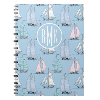 Cute Sailboat Pattern | Monogram Notebook