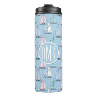 Cute Sailboat Pattern | Monogram Thermal Tumbler