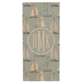 Cute Sailboat Pattern | Monogram Wood USB Flash Drive