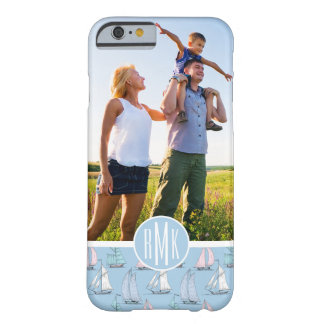 Cute Sailboat Pattern | Your Photo & Monogram Barely There iPhone 6 Case