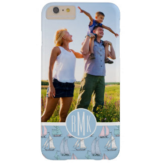 Cute Sailboat Pattern | Your Photo & Monogram Barely There iPhone 6 Plus Case