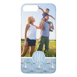 Cute Sailboat Pattern | Your Photo & Monogram iPhone 8 Plus/7 Plus Case