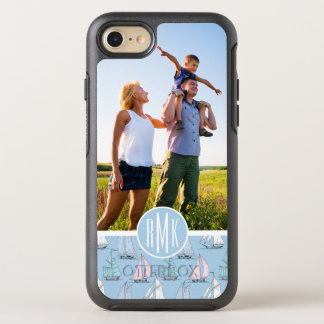 Cute Sailboat Pattern | Your Photo & Monogram OtterBox Symmetry iPhone 8/7 Case