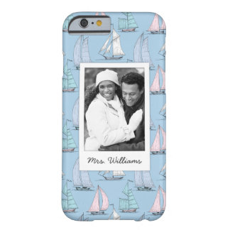 Cute Sailboat Pattern | Your Photo & Name Barely There iPhone 6 Case