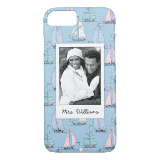 Cute Sailboat Pattern | Your Photo & Name iPhone 8/7 Case