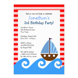 Cute Sailboat Red and Blue Birthday Invite 5x7