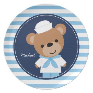 Cute Sailor Bear Kids Dinner Plate
