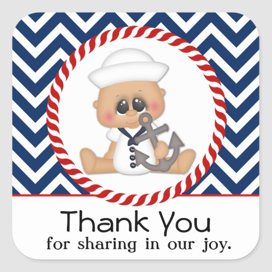 Cute Sailor Boy Nautical Baby Shower Square Sticker