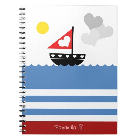 Cute Sailors Sailboat with Hearts Custom Notebook