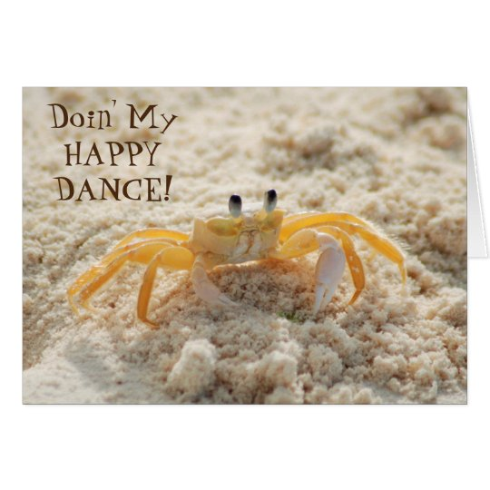 Cute Sand Crab Happy Dance Card