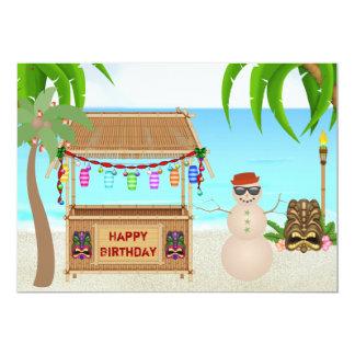 Cute Sand Snowman Beach Winter Birthday Invite