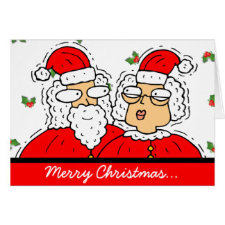 Cute Santa and Mrs. Claus With Holly Christmas Card