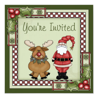 Cute Santa and Reindeer Christmas Holiday Party 13 Cm X 13 Cm Square Invitation Card