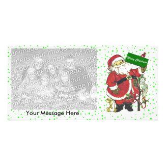 Cute Santa Animals Merry Christmas  Photo Greeting Card