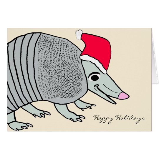 Cute Santa Armadillo Christmas Card