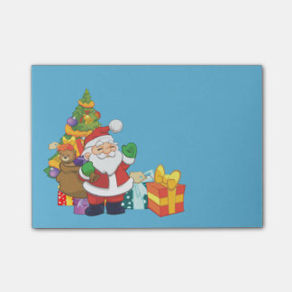 Cute Santa Christmas Light Teal Post-it Notes